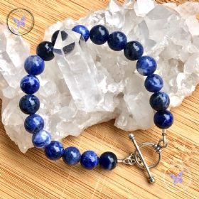 Sodalite Healing Bracelet with Silver Toggle Clasp